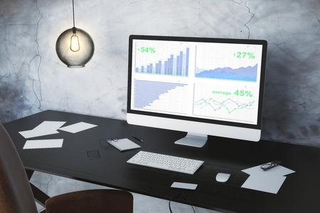 monitor de computadora: Computadora con el gr�fico de negocios en el escritorio y la bombilla de la vendimia