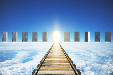 parallel world: Concept of right direct road to open the door Stock Photo