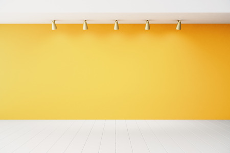 Empty interior with orange wall and white floor