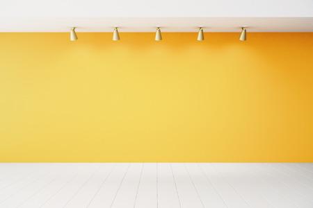 Leerer Innenraum mit orange Wand und weißen Boden