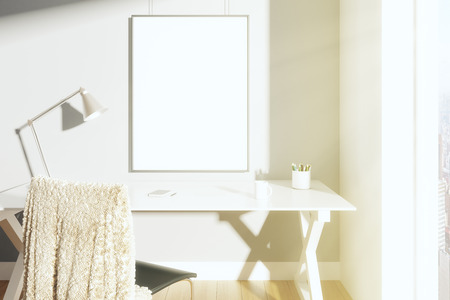 blank poster: Blank picture frame on the wall in sunny room with lamp on the table and chair, mock up