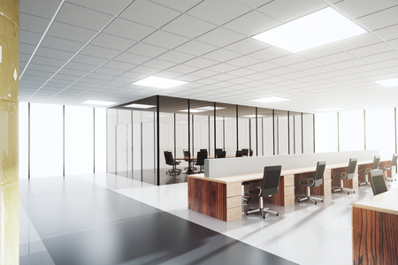 inside of: Modern light open space office with conference room