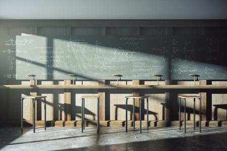 Vintage university classroom with equation solution on blackboard