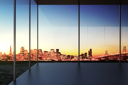 indoor background: Modern transparent empty room with city view at sunset