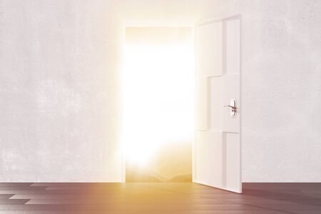 parallel world: Bright light from the open door of empty room Stock Photo