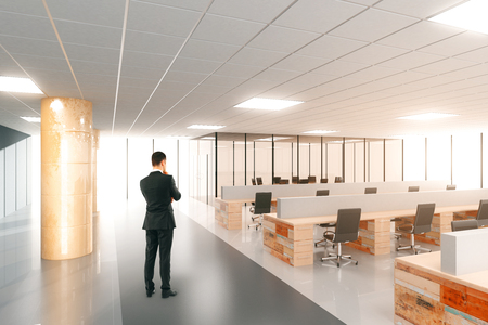 Businessman in modern open space office with furniture