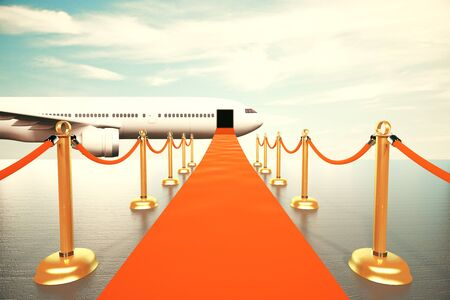 first in class: Red carpet leading to the first class of plain concept Stock Photo