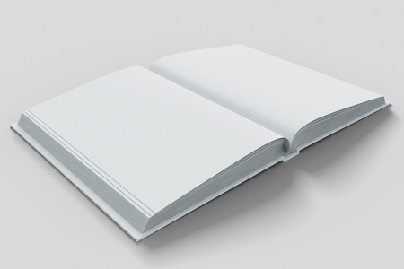 open diary: Blank white open diary pages on white table,  mock up