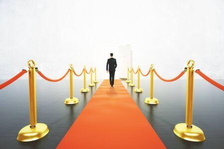 businessman walking: Businessman walking on red carpet concept Stock Photo
