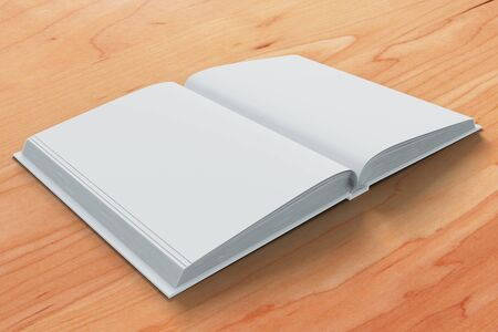 open diary: Blank white open diary pages on wooden table,  mock up
