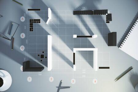 3 D の壁、階段、日記、一杯のコーヒーは新しいフラットの設計図の平面図