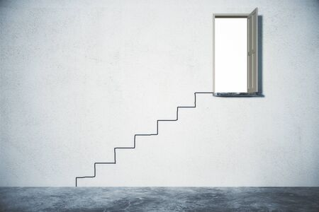 problem solution: Problem solution concept with staircase leading to open door Stock Photo