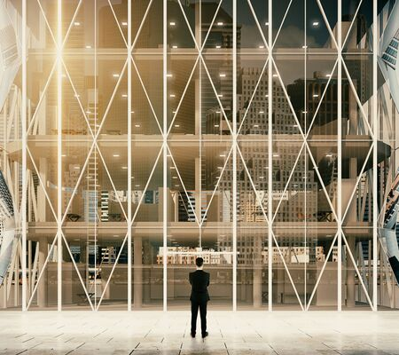 vitreous: Businessman in front of entrance to the modern vitreous business center