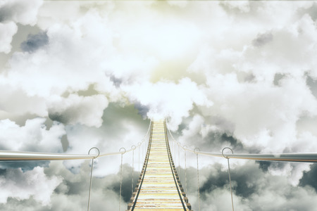 stairway to heaven: Bridge among the clouds concept