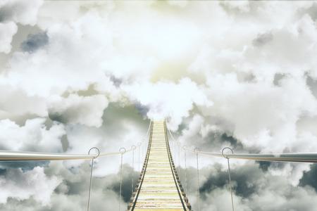 Bridge among the clouds concept