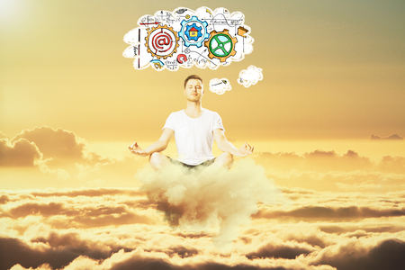 to think about: Man meditate in the sky and think about business scheme concept