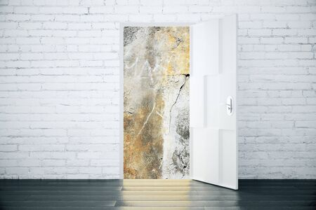 parallel world: Universe view concept from the open door of brick room with wood floor