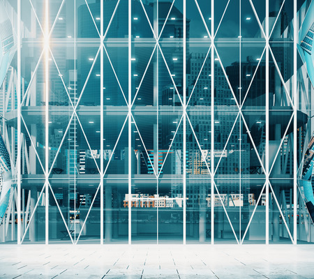 corporate building: Entrance to the modern vitreous business center Stock Photo
