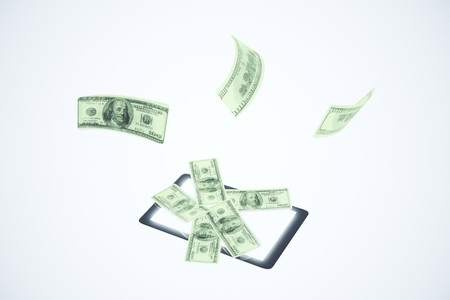 earn money online: Digital tablet with way to earn money online concept Stock Photo