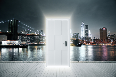 parallel world: Luminous entrance concept with night city view background