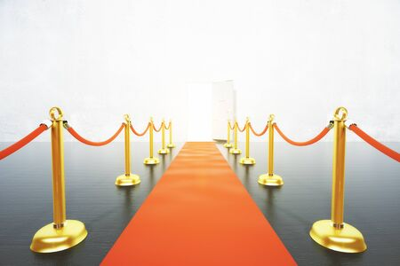 leading: Red carpet leading to open door concept