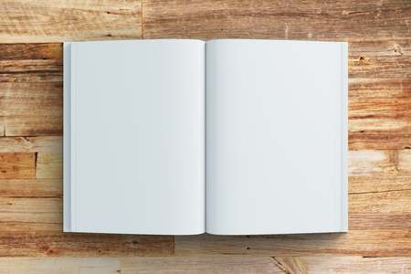 open diary: Blank pages of diary on wooden table, mock up