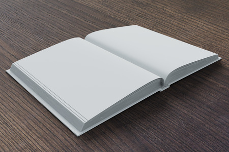 Blank pages of diary on dark brown wooden table, mock up Zdjęcie Seryjne