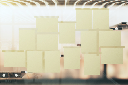 blank papers: Blank papers on the glass window in a modern office
