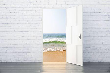 parallel world: Ocean view concept from the open door of brick room with wood floor
