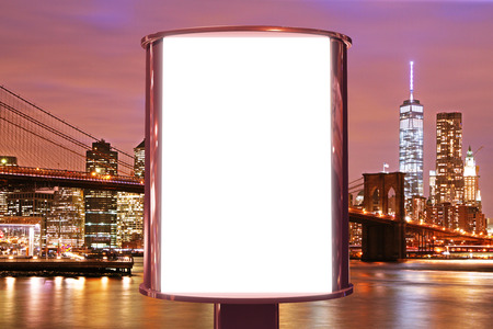 new york buildings: Blank billboard on the night city backgound, mock up