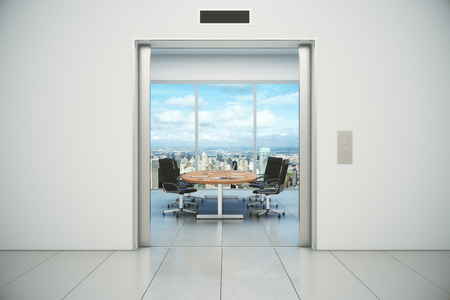 Conference room with city view is appeared from the elevator doors