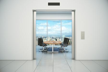 abrir puertas: Sala de conferencias con vista a la ciudad se sali� de las puertas del ascensor