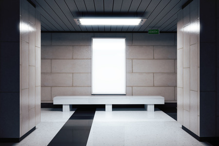 underground passage: Blank white billboard in underground passage, mock up