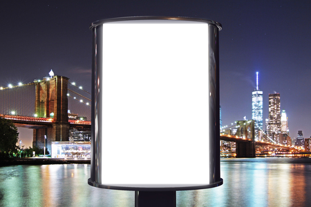 blank frame: Blank billboard with night city view background, mock up