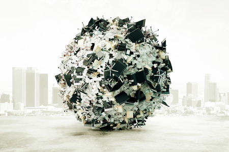 reaches: A ball of office accessories at city background, overworked concept