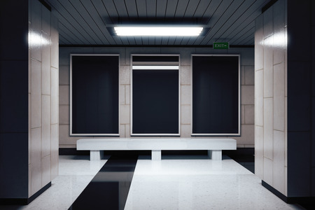 underground passage: Blank black billboard in underground passage Stock Photo