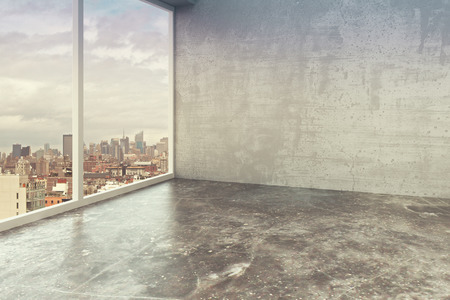 office window view: Empty loft interior room with concrete walls, floor and city view