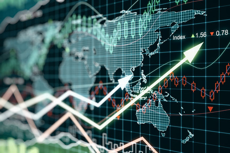 Business graph with arrows, global business concept Stockfoto