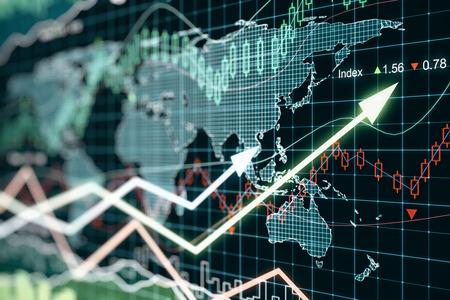 graficas de pastel: Negocios gráfico con flechas, el concepto de negocio global