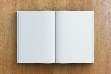 blank pages: Blank pages of diary on wooden table, mock up