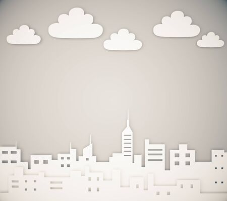 paper art: Paper megapolis city layout with clouds Stock Photo