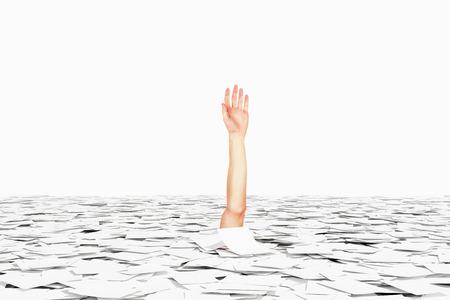 bureaucracy: Drowned in paper bureaucracy hand concept Stock Photo