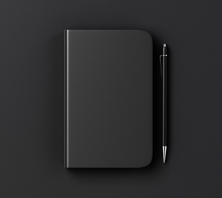 Blank black diary cover and pen on black table, mock up