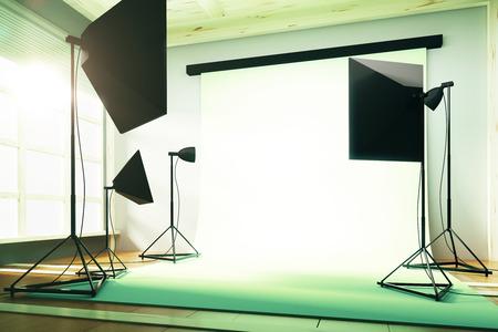 Interior empty sunny photo studio Stock Photo