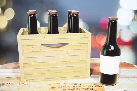 blank box: Case of beer and black bottle on wooden table, mock up
