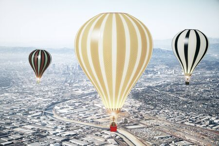 megapolis: Flying baloons in the sky of megapolis city
