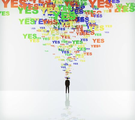say: Say yes concept with yes words and businessman Stock Photo