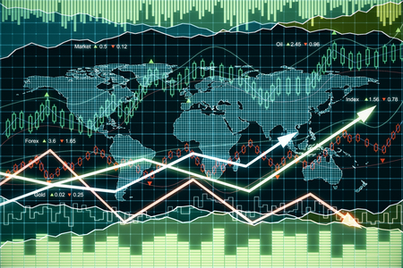 growth rate: Business graph with arrows and world map