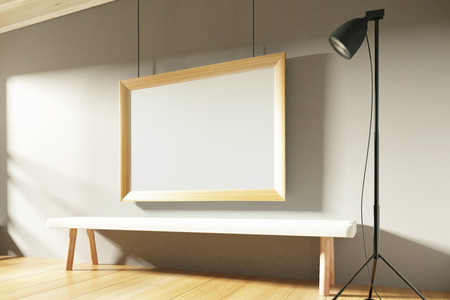 3d interior picture: Blank picture frame in sunny empty room with wooden bench, mock up Stock Photo