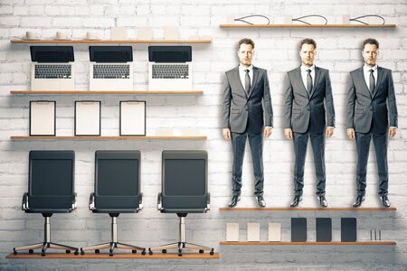 suite: Office kit tools concept with workers and office accessories at white brick background